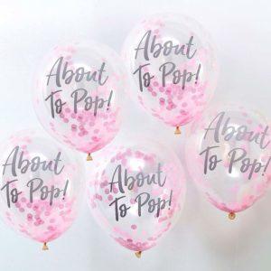 Μπαλόνια με ροζ κομφετί About to Pop
