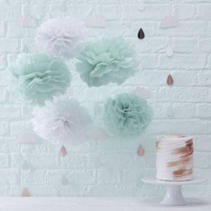 Baby Shower Χάρτινα διακοσμητικά Pom Poms