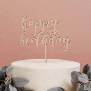 Ξύλινο cake topper Happy Birthday