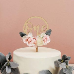 First Birthday Floral Cake topper