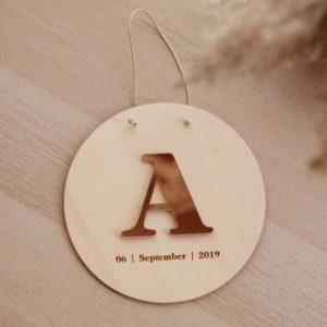 Personalised ενθύμιο με αρχικό ονόματος & ημερομηνία γέννησης