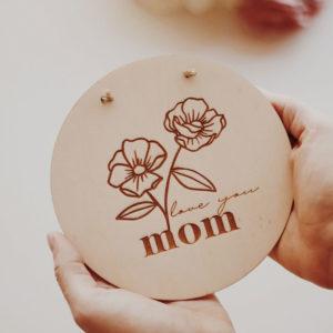 Love you Mom ξύλινο καδράκι