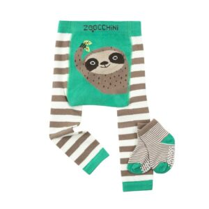 Zoocchini Grip+Easy Crawler Pants & Socks Set – Kallie the Kitten Silas the Sloth