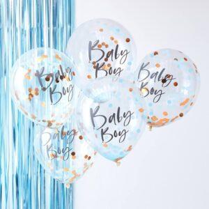 Βaby Boy Μπαλόνια με Ροζ Χρυσό Κονφετί