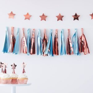 MATTE BLUE & ROSE GOLD TASSEL GARLAND