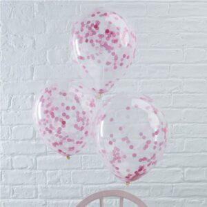 Μπαλόνια Με Ροζ Κονφετί