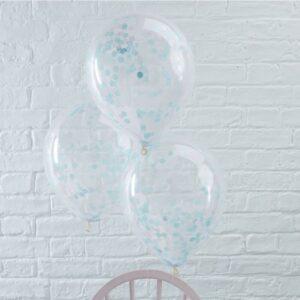 Μπαλόνια Με Γαλάζιο Κονφετί